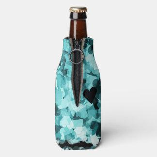 Soft Baby Blue Kawaii Hearts Background Bottle Cooler