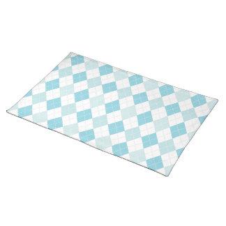 Soft Blue & Aqua Retro Seaside Argyle Pattern Placemats