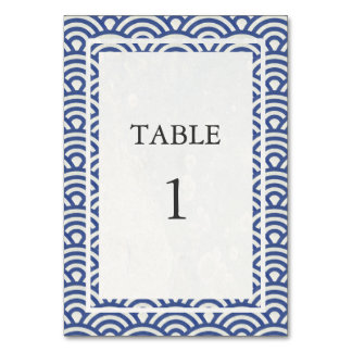 Soft Blue + White Japanese Seigha Table Number Table Card