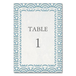 Soft Blue + White Japanese Seigha Table Number Table Cards