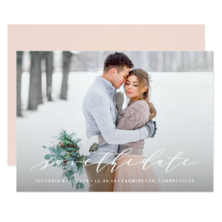 Soft Calligraphy Save the Date Photo Announcement