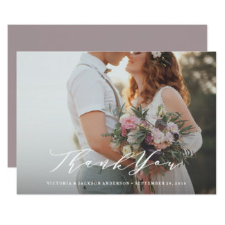 Soft Calligraphy Wedding Thank You Photo Card
