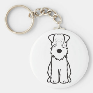 Soft Coated Wheaten Terrier Dog Cartoon Basic Round Button Key Ring