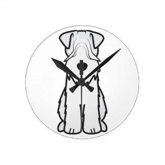 Soft Coated Wheaten Terrier Dog Cartoon Round Clock