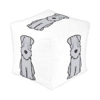 Soft Coated Wheaten Terrier Dog Cartoon Cube Pouffe