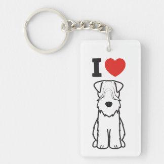 Soft Coated Wheaten Terrier Dog Cartoon Double-Sided Rectangular Acrylic Key Ring