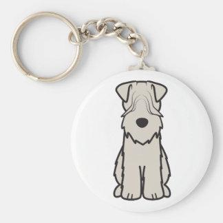 Soft Coated Wheaten Terrier Dog Cartoon Basic Round Button Key Ring