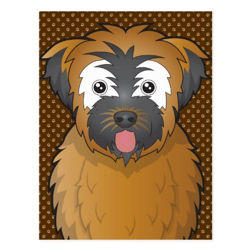 Soft Coated Wheaten Terrier Dog Cartoon Paws Post Cards