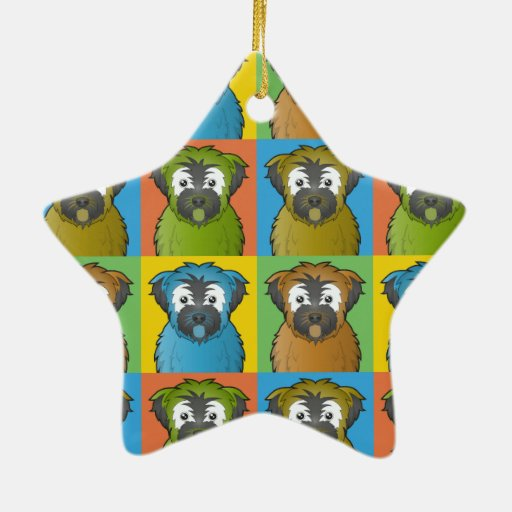 Soft Coated Wheaten Terrier Dog Cartoon Pop-Art Christmas Tree Ornaments