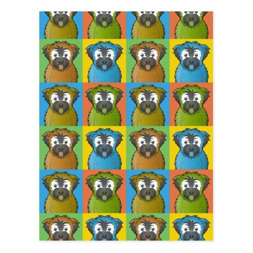 Soft Coated Wheaten Terrier Dog Cartoon Pop-Art Post Cards
