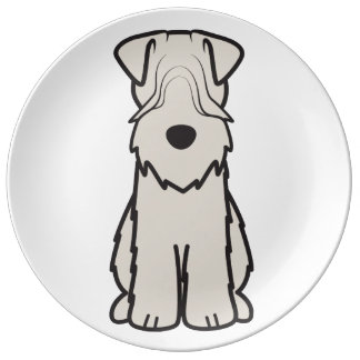 Soft Coated Wheaten Terrier Dog Cartoon Porcelain Plate