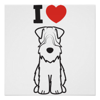 Soft Coated Wheaten Terrier Dog Cartoon Poster