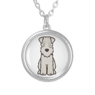 Soft Coated Wheaten Terrier Dog Cartoon Round Pendant Necklace