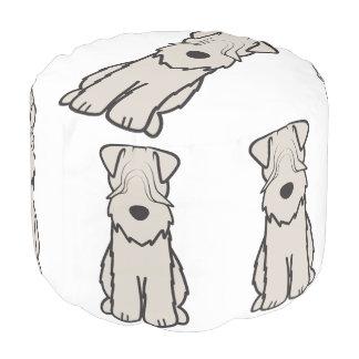 Soft Coated Wheaten Terrier Dog Cartoon Round Pouffe