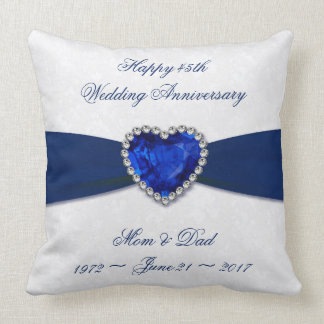 Soft Damask 45th Wedding Anniversary Throw Pillow