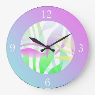 Soft fronds Multi-coloured clock