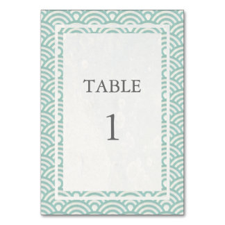Soft Green + White Japanese Seigha Table Number Table Card
