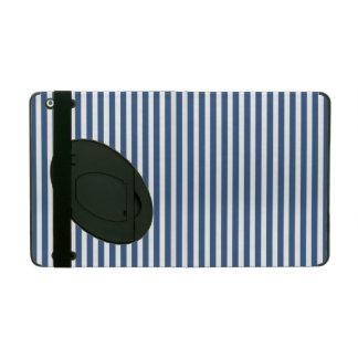 Soft Iris Blue and White Cabana Stripe Pattern iPad Folio Cover