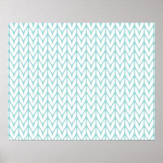 Soft Mint Yarn Chevrons Knit Pattern Customizable Poster