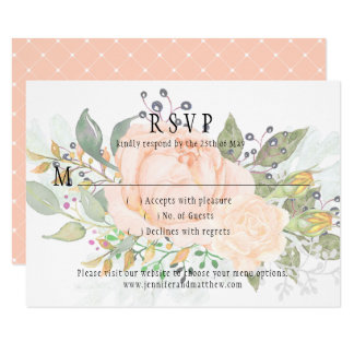 Soft Peach Roses Yellow Rosebuds Greenery RSVP Card