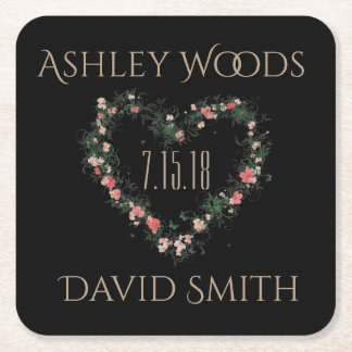 Soft Pink Floral Heart Save The Date Coaster