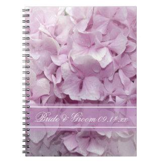 Soft Pink Hydrangea Wedding Spiral Note Book