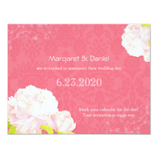 Soft Pink Peony Wedding Save the Date Card