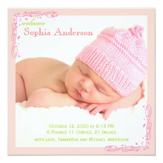 Soft Pink Swirl Baby Girl Photo Birth Announcement
