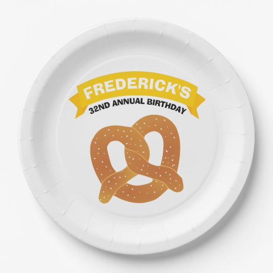 Soft Pretzel Party 9 Inch Paper Plate