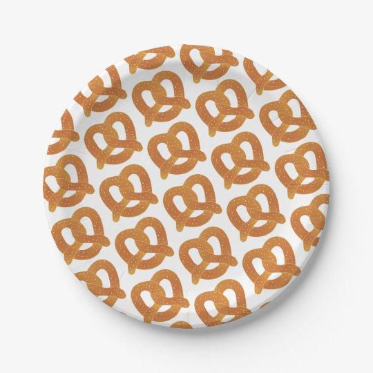 Soft Pretzel Pattern 7 Inch Paper Plate