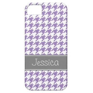 Soft Purple and Gray Houndstooth Personalized iPhone 5 Case