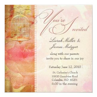 Soft romantic birdcage wedding invitations