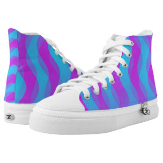 Soft Waves gradients pink cyan + your ideas Printed Shoes