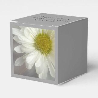 Soft White Daisy on Gray Wedding Favour Box