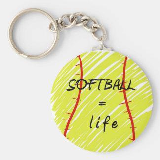 softball_equals_life basic round button key ring