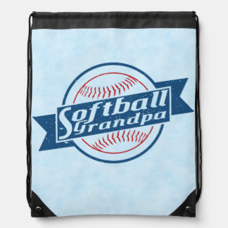 Softball Grandpa Drawstring Backpack Pack Bag