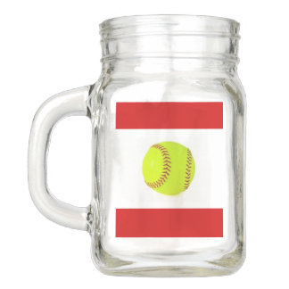 Softball Mason Jar