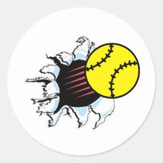 Softball Rip It Round Sticker