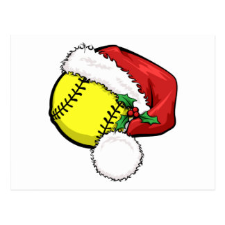 Softball Santa Cap Postcard