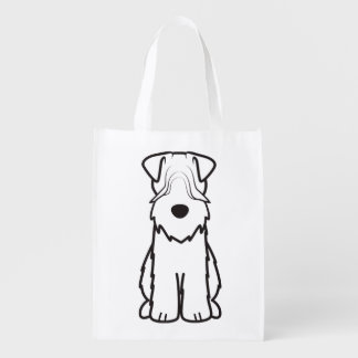 Softcoated Wheaten Terrier Dog Cartoon Reusable Grocery Bag