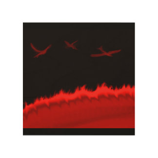 solar fire birds painting wood print