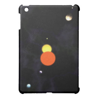Solar system with a binary star and four planets cover for the iPad mini