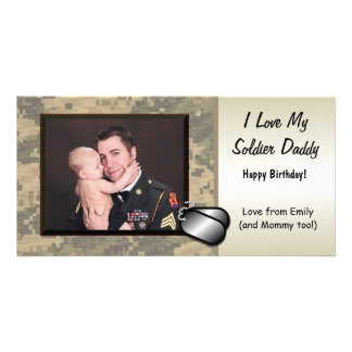 Soldier Daddy Birthday Custom Personalized Photo Cards
