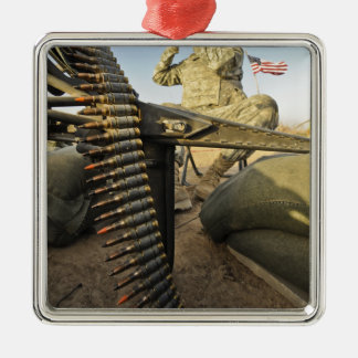 soldier scouts for enemy activity Silver-Colored square decoration