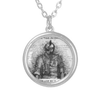 Soldier Warrior - Oath Customize Background Color Silver Plated Necklace