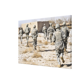 soldiers respond to a small arms attack canvas print