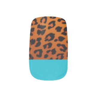 Solid Blue/Leopard Manicure Nails Minx Nail Art