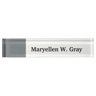 Solid Color: Charcoal Gray Name Plate