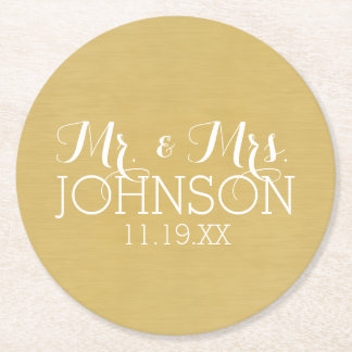Solid Color Mr & Mrs Wedding or Anniversary Favor Round Paper Coaster