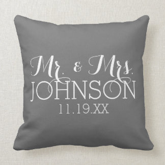 Solid Color Mr & Mrs Wedding or Anniversary Favor Throw Pillow